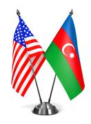 Stock Illustration of USA and Azerbaijan - Miniature Flags