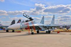 MOSCOW, RUSSIA - AUG 2015: fighter aircraft Su-30 Flanker-C pres - stock photo