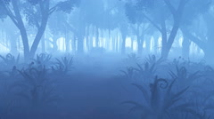 Misty night forest with fern thickets 4K Stock Footage