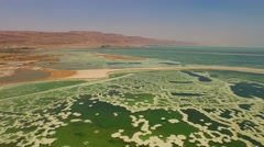 Flying Aerial View of DEAD SEA, ISRAEL in 4K Stock Footage