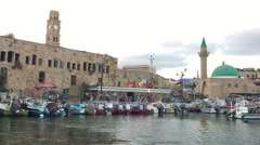 The city of Acre from boat Stock Footage