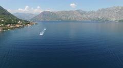 White boat on Adriatic sea, Montenegro - stock footage