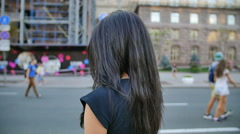 6 in 1 video! Young woman turn and smile in the city by building background - stock footage