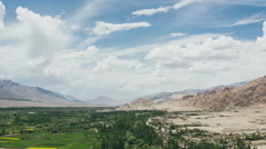 Timelapse of fields in Ladakh up to down Stock Footage