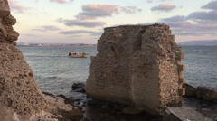 Old ruins in Acre Stock Footage