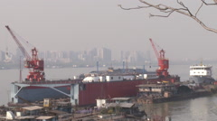 Wuhan Port, Chinese shipping, China Stock Footage