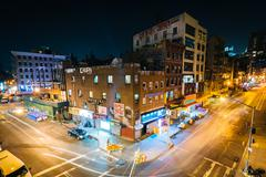View of the intersection of Market Street and Division Street at night, seen  Stock Photos