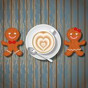 Loving couple of gingerbread cookies and coffee cup with heart shape Stock Illustration