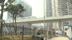 Elevated train, China transportation, Wuhan Stock Footage