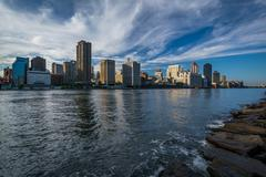 Stock Photo of View of the Midtown Manhattan skyline, from Roosevelt Island, New York.
