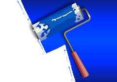 Roller painting the walls in blue Stock Illustration
