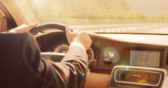 Driving at sunset Stock Footage