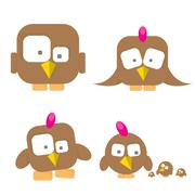 cute birds collection - stock illustration