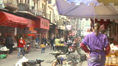 Chinese street market, Wuhan, China Stock Footage