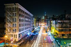 View of East Broadway at night, in the Lower East Side, in Manhattan, New Yor - stock photo