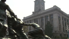Statue, colonial Wuhan Customs House, China Stock Footage