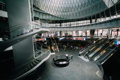 The interior of the Fulton Center in Lower Manhattan, New York. - stock photo