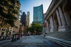 Stock Photo of The New York Public Library and buildings in Midtown Manhattan, New York.