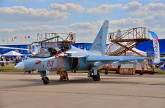 MOSCOW, RUSSIA - AUG 2015: attack aircraft Yak-130 Mitten presen - stock photo