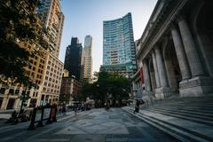 The New York Public Library and buildings in Midtown Manhattan, New York. - stock photo