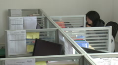 Chinese office, cubicle workstations, China Stock Footage