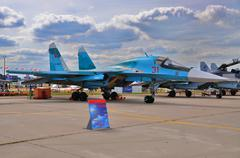 Stock Photo of MOSCOW, RUSSIA - AUG 2015: strike fighter Su-34 Fullback present