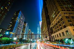 The Battery Park Underpass and 1 World Trade Center with the Tribute in Light - stock photo