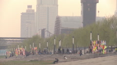 Chinese people, Yangtze River bank, Wuhan - stock footage