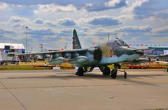 MOSCOW, RUSSIA - AUG 2015: attack aircraft Su-25 Frogfoot presen - stock photo