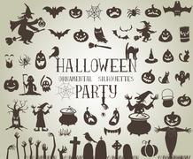 Halloween silhouettes - stock illustration