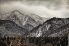 Winter scene in the Japanese alps, Nagano prefecture Stock Photos