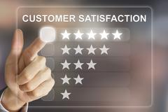 Stock Photo of business hand pushing customer satisfaction on virtual screen