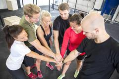 Team motivation before workout at the gym Stock Photos