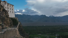 Timelapse of Thiksey monastery with mountains in the background Stock Footage