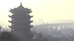 Yellow Crane Tower, Wuhan, China pollution Stock Footage