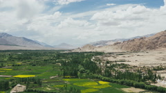 Timelapse of fields in Ladakh static Stock Footage