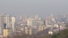 Modern Chinese city panorama, Wuhan, China Stock Footage