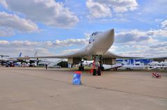MOSCOW, RUSSIA - AUG 2015: heavy strategic bomber Tu-160 Blackja - stock photo