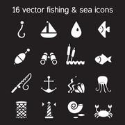 Isolated marine and fishing icons set - stock illustration