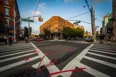 Intersection of Driggs Avenue and Metropolitan Avenue in Williamsburg, Brookl - stock photo