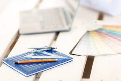 Stationary lying on the table - stock photo