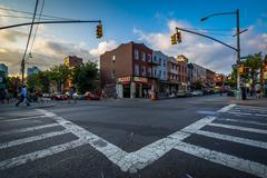 Intersection of Bedford Avenue and Fifth Street in Williamsburg, Brooklyn, Ne - stock photo