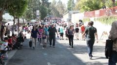 Title JPL Open House Crowd - stock footage