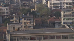 Modern Chinese city skyline, Wuhan, China Stock Footage