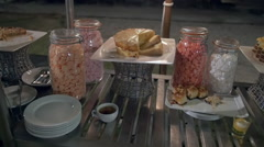 Dessert buffet table - candy, cake, sugar Stock Footage