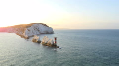 Aerial Drone Isle of Wight Needles England travel sunrise Stock Footage