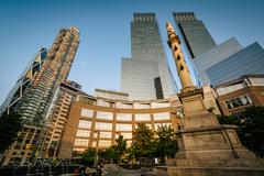 Christopher Columbus Statue and skyscrapers at Columbus Circle, in Manhattan, - stock photo