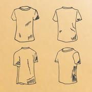 t-shirt design templates sketch - stock illustration