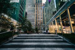 Buildings on 42nd Street in Midtown Manhattan, New York. Stock Photos