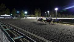 Horse Racing - Night Riders - 01 - Track Start Challenge Stock Footage